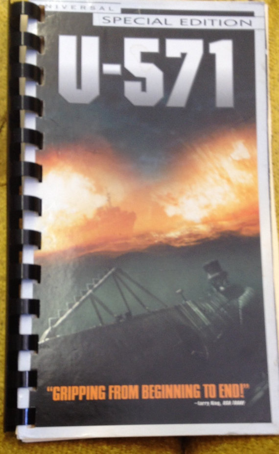 Upcycled, recycled VHS Movie U-571 Sketchbook/Notebook